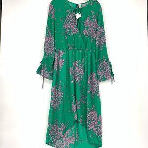 H&M Green Hi Lo Faux Wrap Dress Floral Print